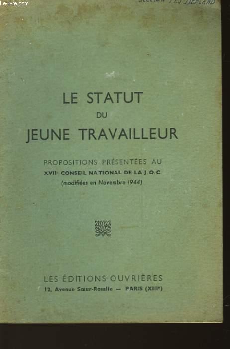 LE STATUT DU JEUNE TRAVAILLEUR