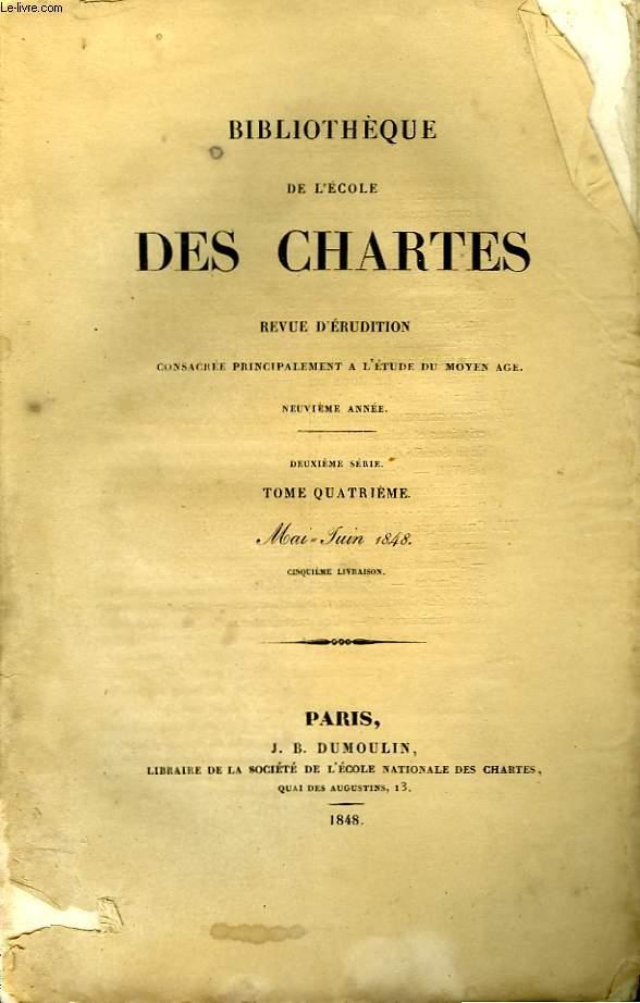 BIBLIOTHEQUE DE L'ECOLE DES CHARTES - DEUXIEME SERIE - TOME A - MAI JUIN