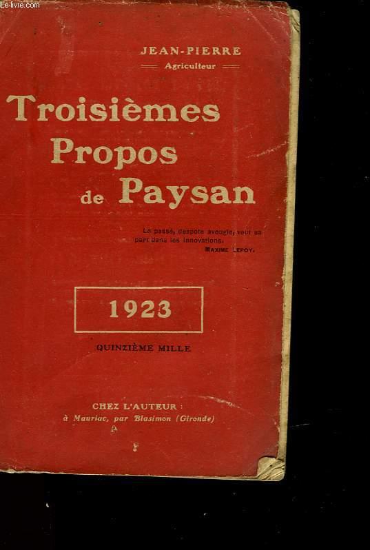 TROISIEME PROPS DE PAYSAN
