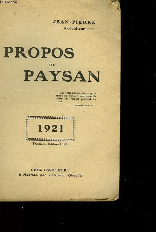 PROPOS DE PAYSAN