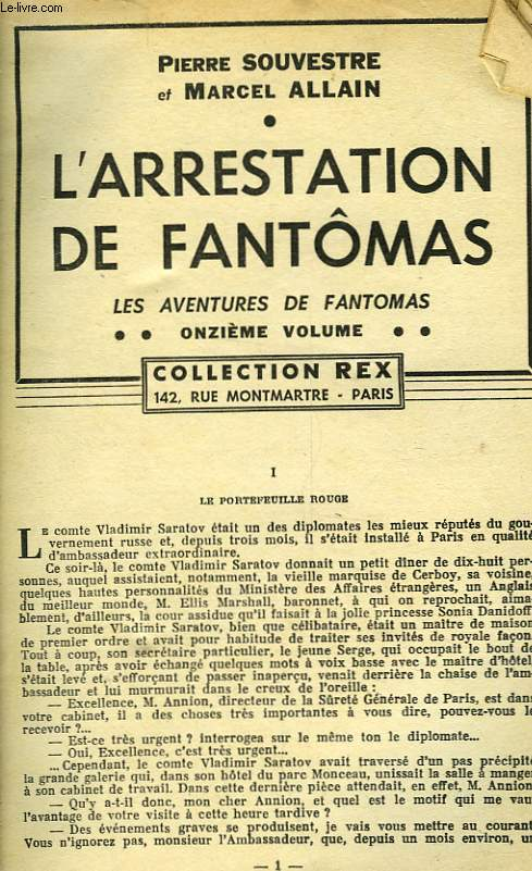 L'ARRESTATION DE FANTOMAS - 11° VOLUME