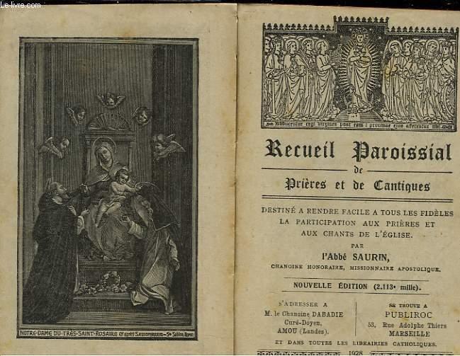 RECUEIL PAROISSIAL DE PRIERES ET DE CANTIQUES