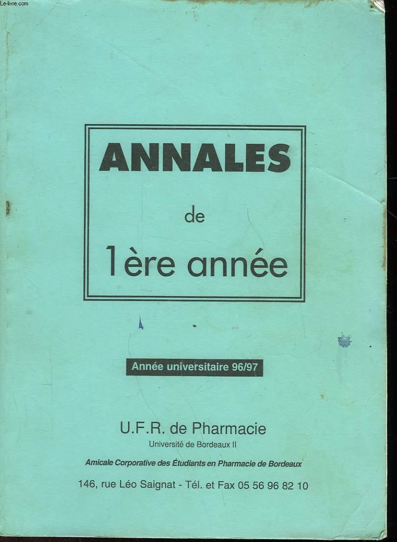ANNALES DE 1° ANNEE - U. F. R. DE PHARMACIE