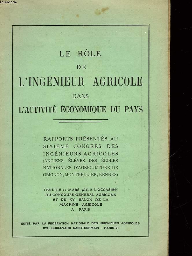 LE ROLE DE L'INGENIEUR AGRICOLE DANS L 'ACTIVITE ECONOMIQUE DU PAYS