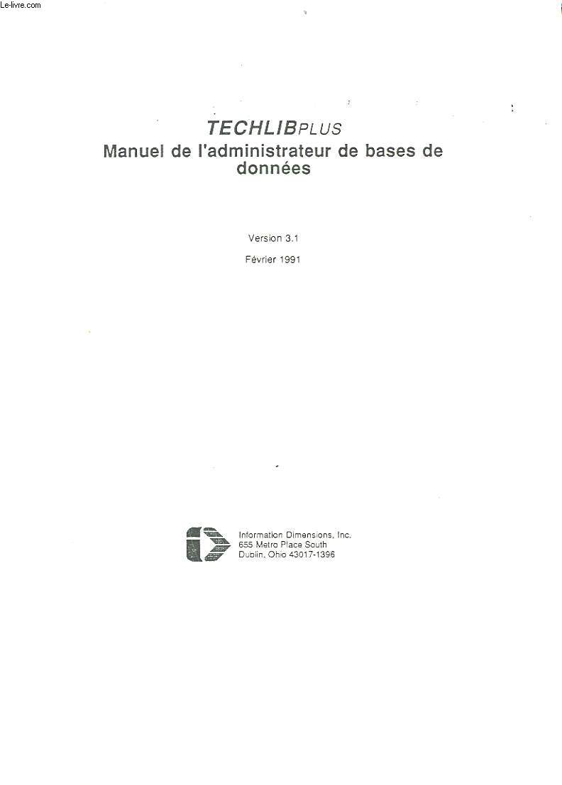 TECHILPLUS - MANUEL DE L'ADMINISTRATEUR DE BASES DE DONNEES - VERSION 3.1.