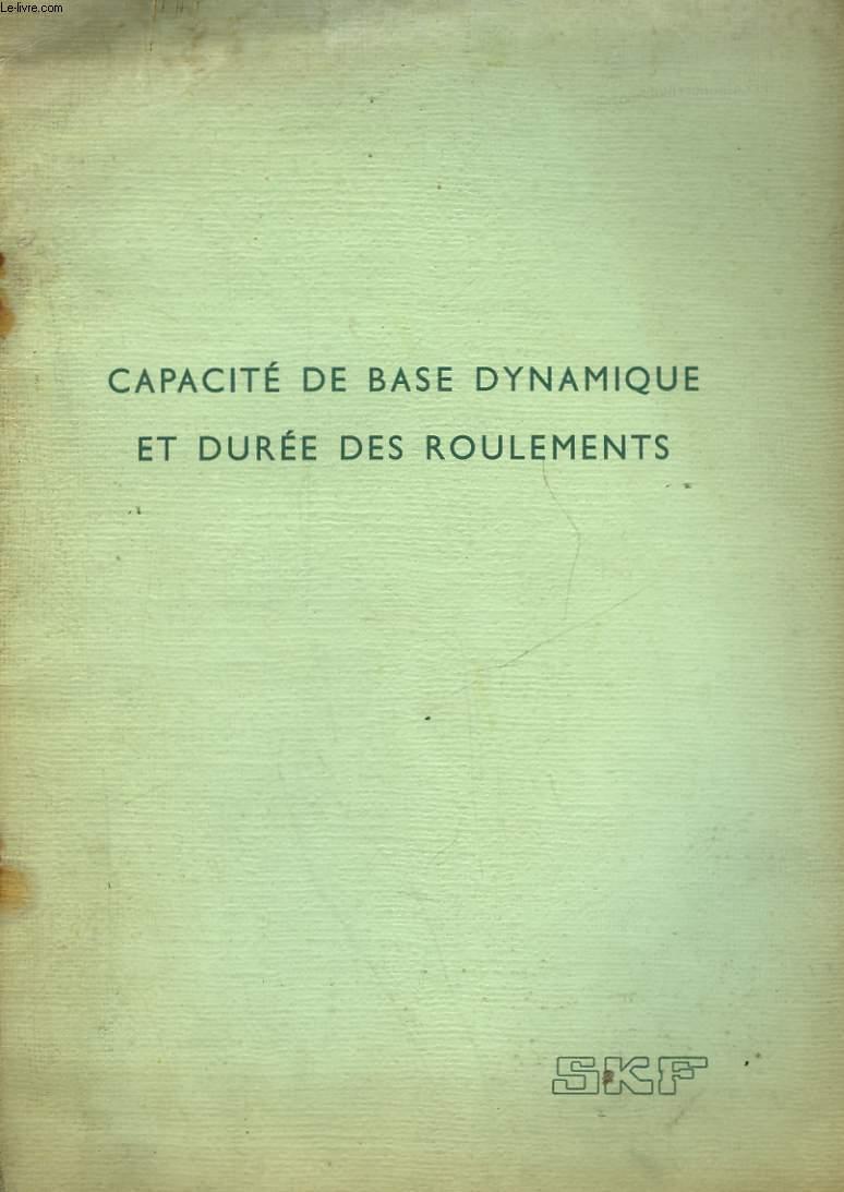 CAPACITE DE BASE DYNAMIQUE ET DUREE DES ROULEMENTS