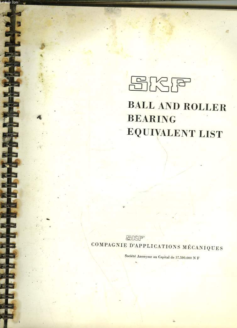BALLAND ROLLER BEARING EQUIVALENT LIST