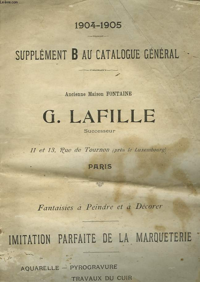 SUPPLEMENT B AU CATALOGUE GENETAL 1904 - 1905