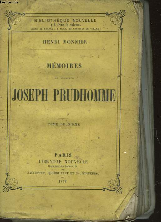 MEMOIRES DE MONSIEUR JOSEPH PRUDHOMME