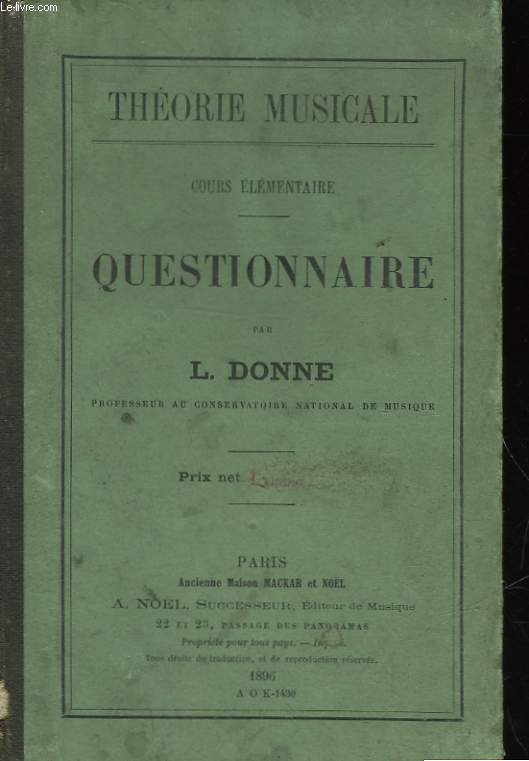 THEORIE MUSICALE - COURS ELEMENTAIRES - QUESTIONNAIRE