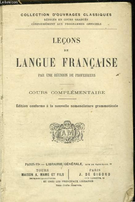 LECONS DE LANGUE FRANCAISE - COURS COMPLEMENTAIRE