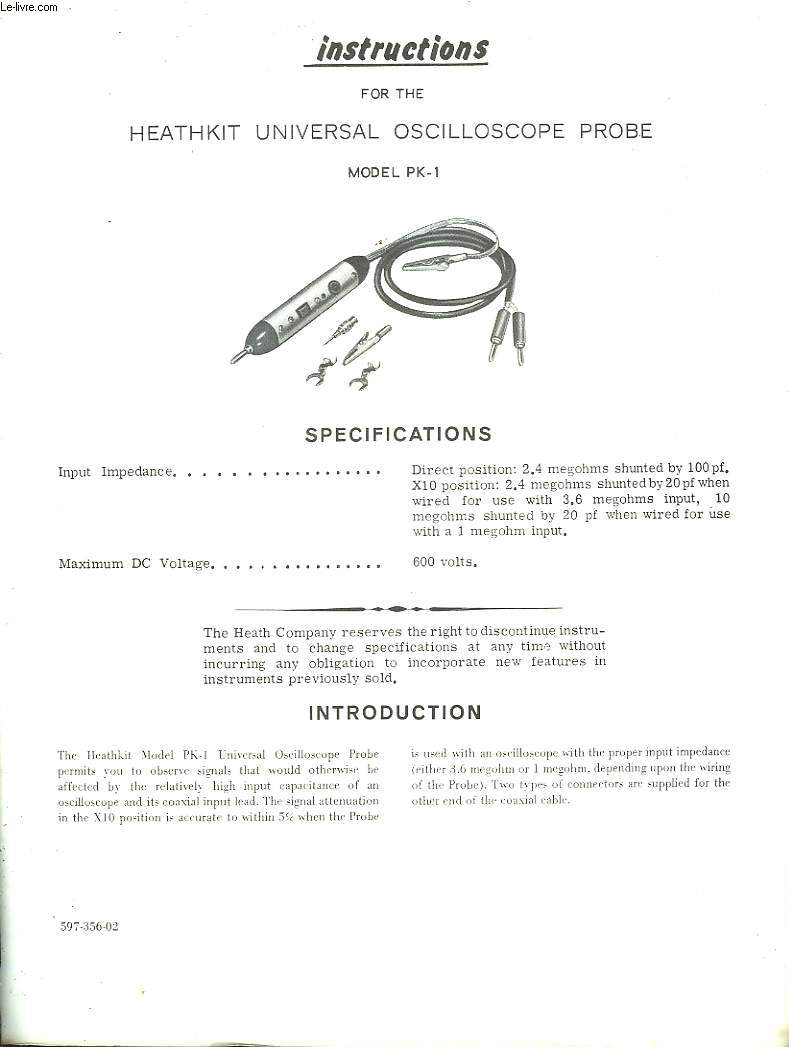 HEATHKIT UNIVERSAL OSCILLOSCOPE PROBE - MODEL PK-1