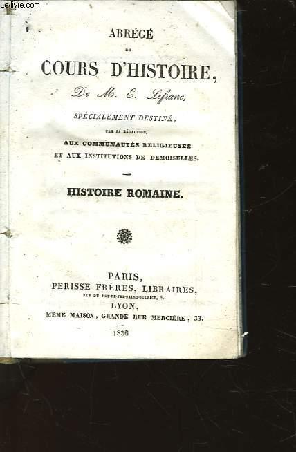 ABREGE DU COURS D'HISTOIRE - HISTOIRE ROMAINE