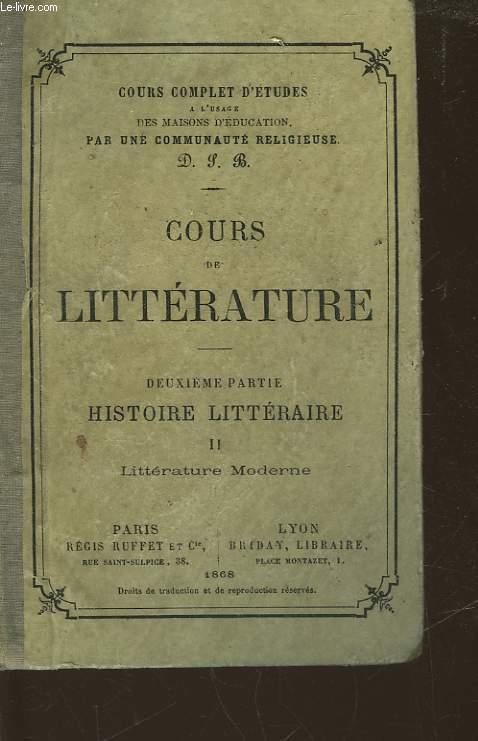 COURS DE LITTERATURE - 2° PARTIE - HISTOIRE LITTERAIRE 2 - LITTERATURE MODERNE