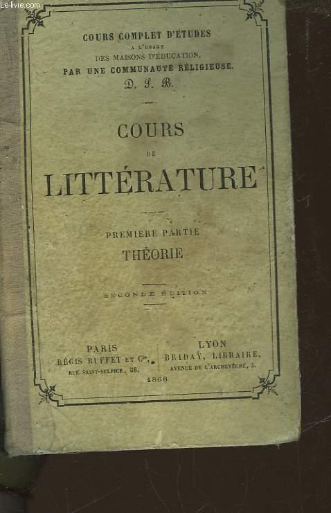 COURS DE LITTERATURE - 1° PARTIE - THEORIE