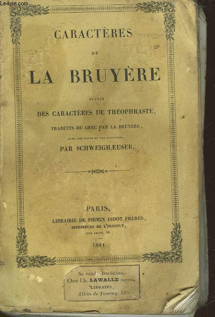 CARACTERES DE LA BRUYERE SUIVI DES CARACTERES DE THEOPHRASTE