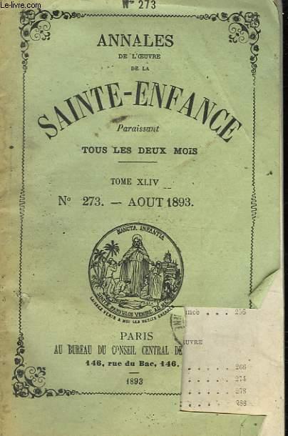 ANNALES DE L'OEUVRE DE LA SAINTE-ENFANCE - N°273