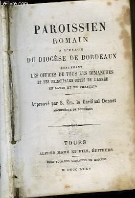 PAROISSIEN ROMAIN A L'USAGE DU DIOCESE DE BORDEAUX