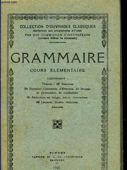 GRAMMAIRE - COURS ELEMENTAIRE