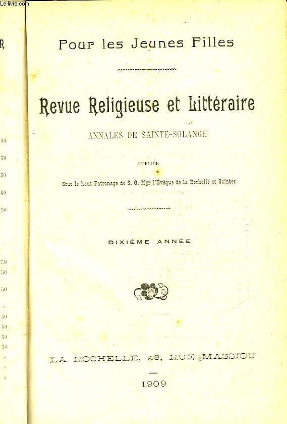 LES ANNALES DE SAINTE-SOLANGE - REGUE RELIVIEUSE ET LITTERAIRE - POUR LES JEUNES FILLES