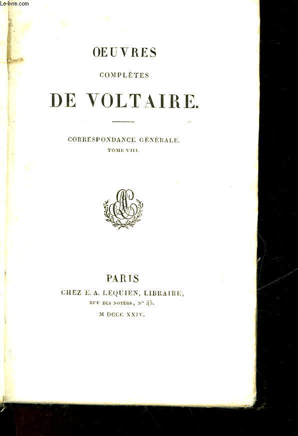 OEUVRES COMPLETES DE VOLTAIRE - CORRESPONDANCE GENERALE TOME 8