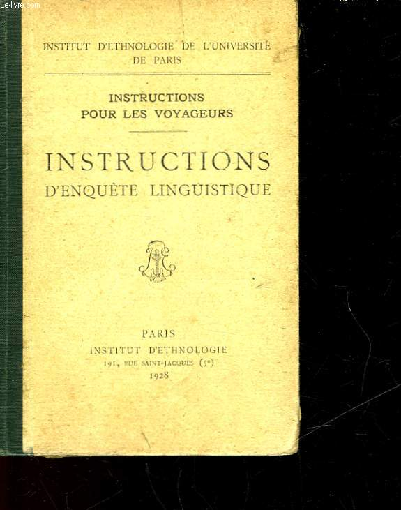 INSTRUCTION D'ENQUETE LINGUISTIQUE
