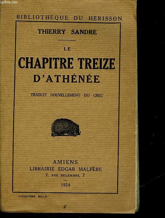 LE CHAPITRE TREIZE D'ATHENEE