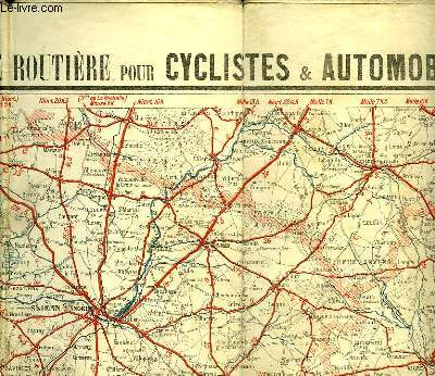 CARTE ROUTIERE POUR CYCLISTES ET AUTOMOBILES DU CENTRE DE LA FRANCE,SECTION SUD-OUEST