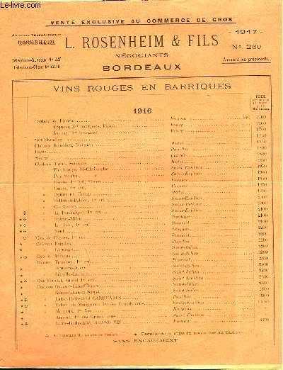 L. ROSENHEIM & FILS - N°259, 260, 261, 262