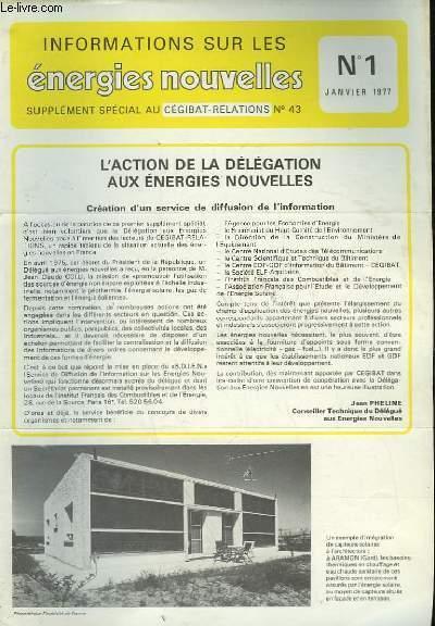 INFORMATIONS SUR LES ENERGIES NOUVELLES - N°1