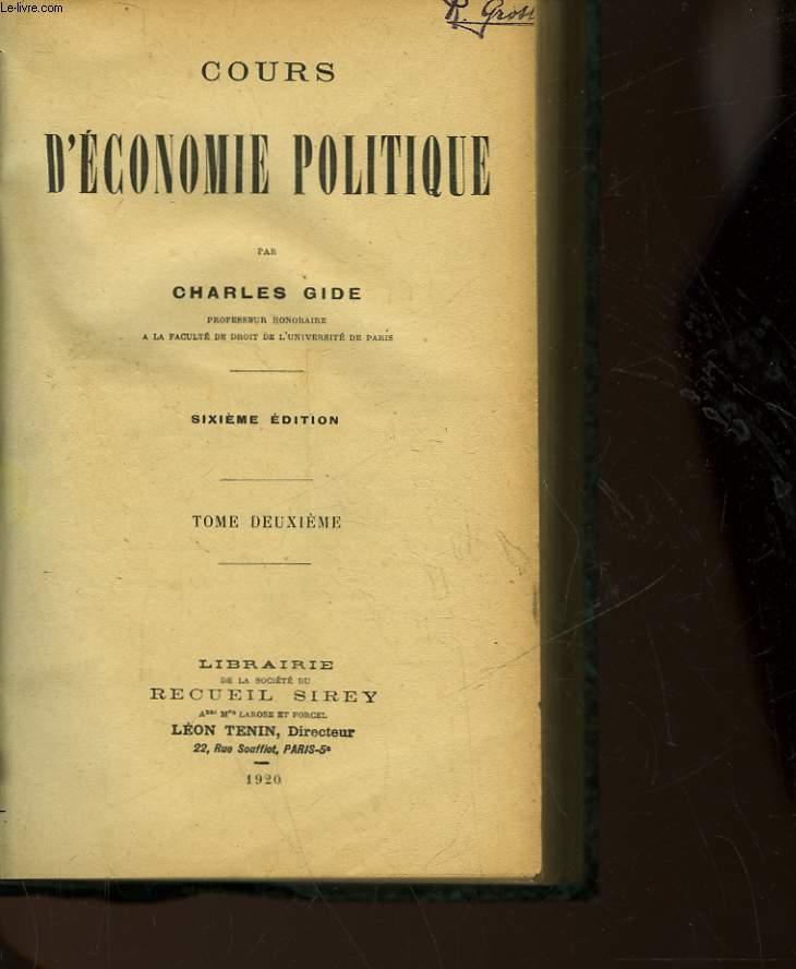 COURS D'ECONOMIE POLITIQUE - TOME SECOND