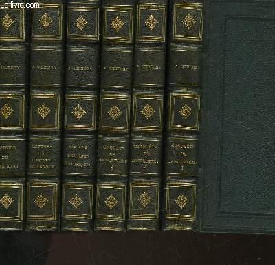 HISTOIRE DE LA CONQUETE DE L'ANGLETERRE PAR LES NORMANDS - DIX ANS D'ETUDES HISTORIQUES - LETTRES SUR L'HISTOIRE DE FRANCE - HISTOIRE DE FRANCE DU TIERS ETAT - 6 TOMES