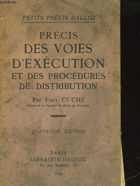 PRECIS DES VOIES D'EXECUTION ET DES PROCEDURES DE DISTRIBUTION