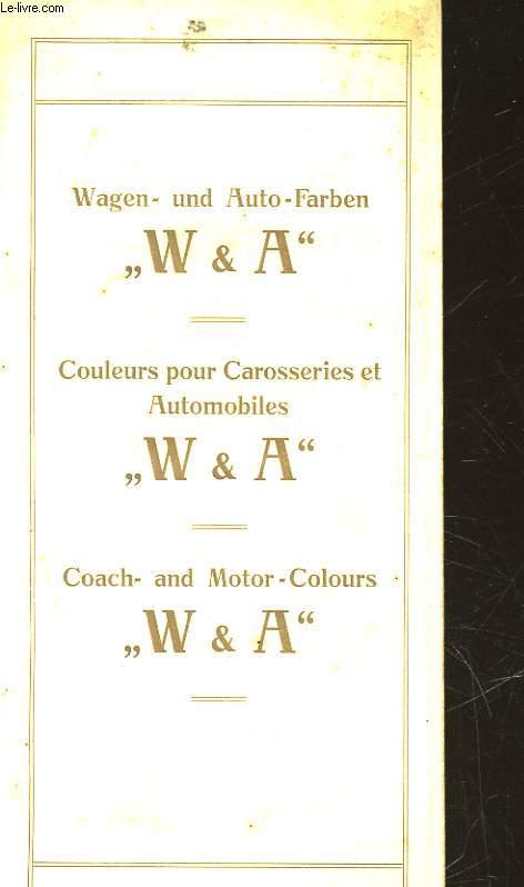 COULEURS POUR CAROSSERIES ET AUTOMOBILES - W & A