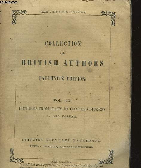 COLLECTION OF BRITISH AUTHORS - VOL 103 - PICTURES FROM ITALY