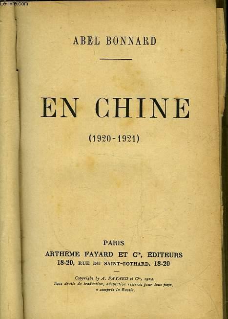 EN CHINE - 1920-1921