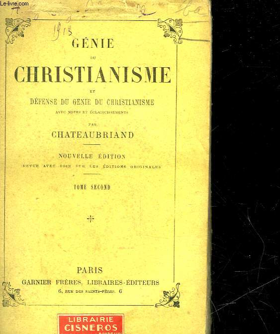 GENIE DU CHRISTIANISME ET DEFENSE DU GENIE DU CHRISTIANISME - TOME SECOND