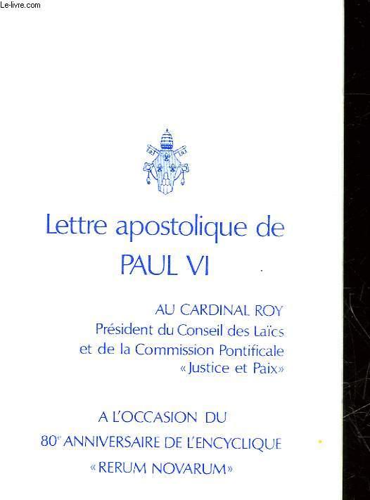 LETTRE APOSTOLIQUE DE PAUL VI AU  CARNIRAL ROY