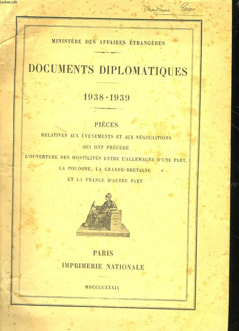 DOCUMENTS DIPLOMATIQUES - 1938 - 1939