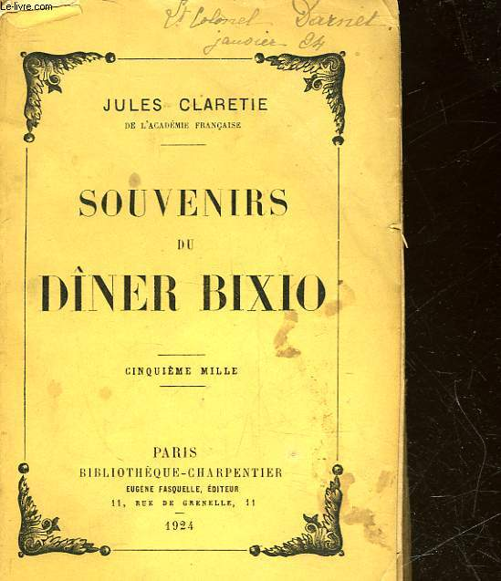 SOUVENIRS DU DINER BIXIO