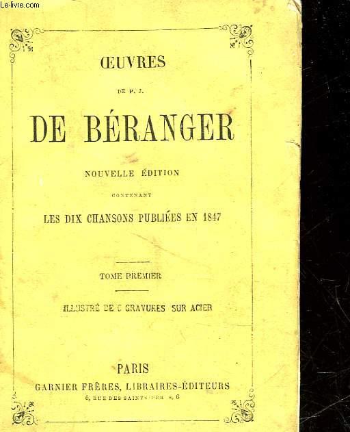 OEUVRES DE P. J. DE BERANGER - TOME PREMIER