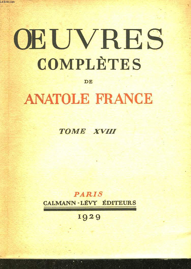 OEUVRES COMPLETES DE ANATOLE FRANCE