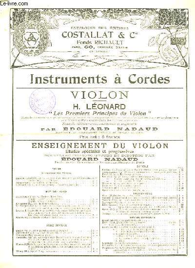 CATALOGUE DES EDITIONS COSTALLAT ET CIE - INSTRUMENTS A CORDES - VIOLON