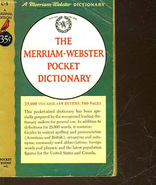 THE MERRIAM-WEBSTER POCKET DICTIONNARY