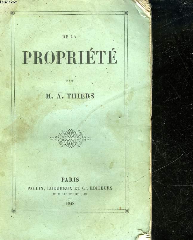 DE LA PROPRIETE