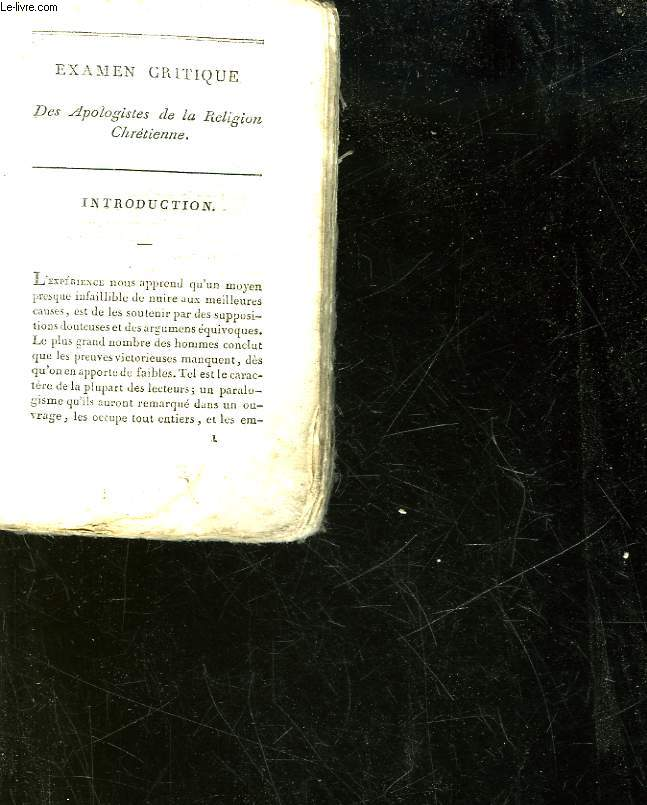 EXAMEN CRITIQUE DES APOLOGISTES DE LA RELIGION CHRETIENNE