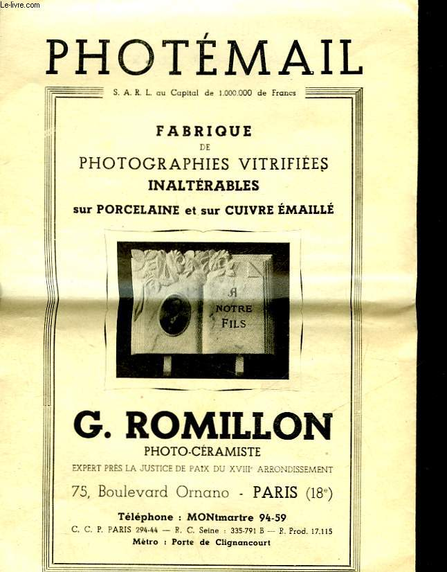 Photemail - portraits vitrifies inalterables pour cadres et pierres tombales