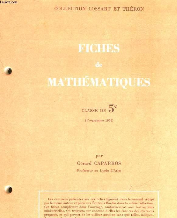 FICHES DE MATHEMATIQUES - CLASSE DE 5°