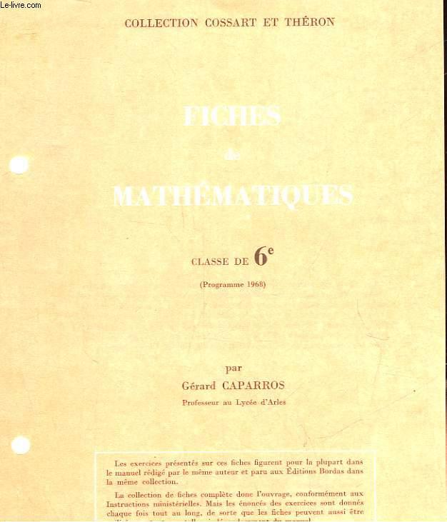 FICHES DE MATHEMATIQUES - CLASSE DE 6°