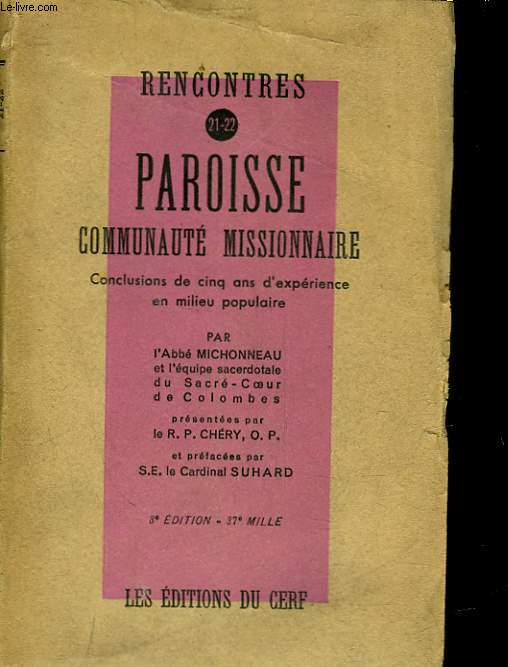 RENCONTRES PAROISSE - 21 - 22 - COMMUNAUTE MISSINNAIRE